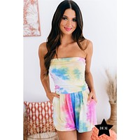 Over The Horizon Strapless Tie Dye Romper (Pink Combo)