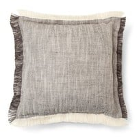 "Gray Fringe Throw Pillow (18""x18"") - Threshold™"