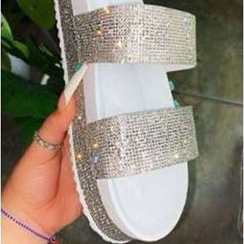 New platform flat-shaped casual rhinestone sponge cake with slippers