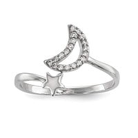 Sterling Silver Rhodium-plated CZ Moon and Star Ring