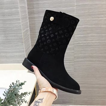 lv louis vuitton trending womens men leather side zip lace up ankle boots shoes high boots 148