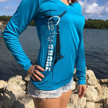 Turquoise Marlin V-Neck UPF Dry Fit Long Sleeve Tee