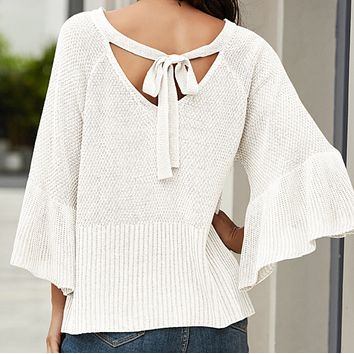 Explosion style women's sweater loose flared sleeve sexy halter strap top