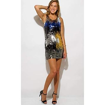 Silver Sequined Sexy  Mini Dress