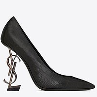 YSL New fashion letter heel high heels shoes women-5