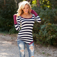 Stripes Patchwork Bottoming Shirt [7322408001]