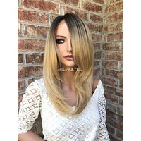 "Cool Blonde Human Hair Blend lace front wig 14"" Jennifer"