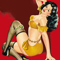 Pinup Poster Brunette With Yellow Short