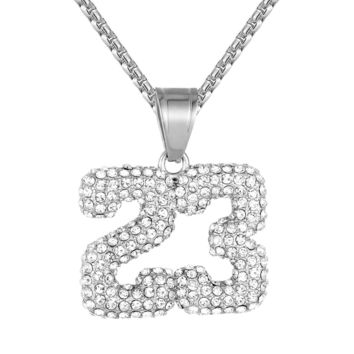 Steel 23 Number Jersey Basketball Sports Pendant Free Chain