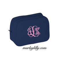 Monogrammed Large Waffle Weave Navy Cosmetic Bag