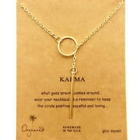 Dogeared Karma Circle Tag Drop Gold Plated Chain Necklace