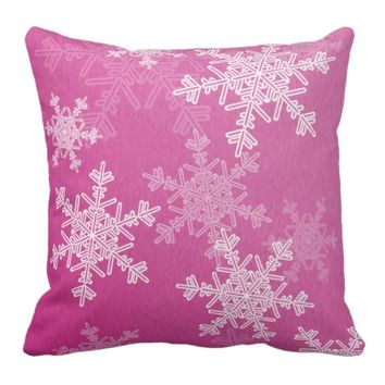 Girly pink and white Christmas snowflakes Pillow