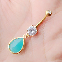 Turquoise belly button ring. Gold belly ring.