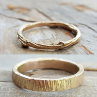Solid 14k Matching Tree Bark and Twig Wedding Band Set in Wood Grain Yellow Gold - Flat, Rectangular and Branch Commitment Rings