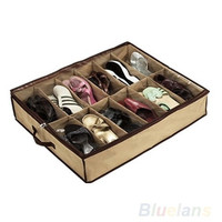 12Pair Shoes Storage Organizer Holder Shoe Organiser Bag Box Under Bed Closet , house pouch = 1651263556