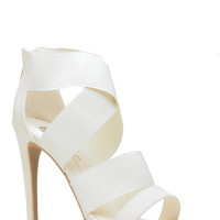 White Faux Leather Cross Strap Heels