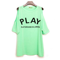 Mint Green Play Loose Strapless Tshirt from TheFunKiss