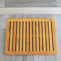 """Bathroom Mat by EcoTrueBamboo - Square Bamboo Bath Mat with Drain holes - Non Slip Bathroom Floors, Kitchen Decor, Pool Equipment, Shower Stalls and Bathtubs – Mold & Mildew Resistant 