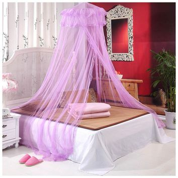 Dome Princess Queen Bed Canopy Mosquito Nets Round Lace Curtain High Density Princess Bed Nets 2018ing