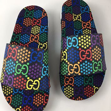 GUCCI x Disney rainbow candy print slip-on slippers shoes
