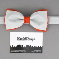 Gray Bow Tie Orange Bow Tie Double Color Bow Tie for Men Wedding Bow Tie Modern Bow Tie Mens Bow Tie Gift for Men in Gray Bartek Design