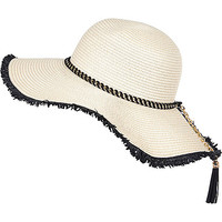 River Island Womens Cream woven chain trim floppy hat