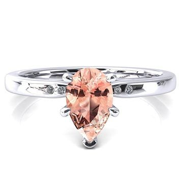 Maise Pear Champagne Sapphire 6 Prong Diamond Accent Engagement Ring