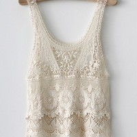 Sexy Lace Tank Top With Floral Pattern from 1Point99.com