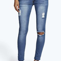 Hannah Distressed Knee Rip Skinny Jeans