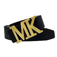 Maikun Mens Leather Dress Belt with Detachable MK Letter Buckle