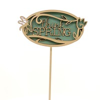 Easter THINK SPRING PLANT STAKE Wood Flourish Butterfly 4051068