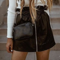 Ruffle pu leather women skirt High waist zipper black female mini skirt Sexy party club ladies bottoms short skirts