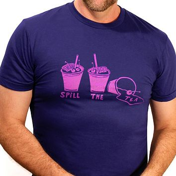 """Provincetown Royal Blue  """"Spill the Tea"""" Tee Size L Available"""