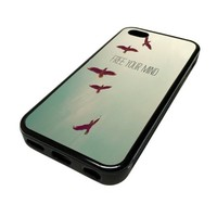 For Apple iPhone 5C 5 C Case Cover Skin Hipster Free Your Mind Birds Beach Paradise Love Teenager Quotes Teen DESIGN BLACK RUBBER SILICONE Teen Gift Vintage Hipster Fashion Design Art Print Cell Phone Accessories