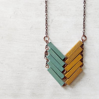 Wood Geometric Necklace // AUSTRALIA // Minimal Jewelry // Mint // Yellow // Hand-Painted Necklace // Modern Necklaces // Chevron Necklace