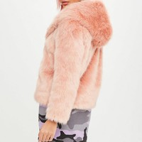 Missguided - Barbie x Missguided Pink Faux Fur Coat