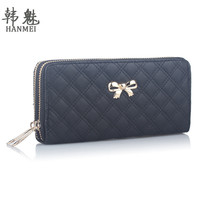2016 Double Zip Clutch Fashion Women Leather Wallet Purse Coin Card Bag Bowknot Plaid Long WalletsTop Quality Free Shipping N526