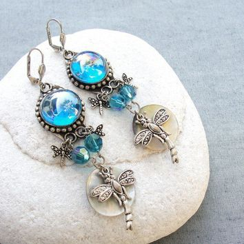Blue Dragonfly Earrings by StaroftheEast on Etsy