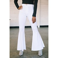 In The Distance High Waisted Super Flare Jean, White