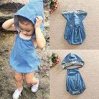 2016 Newborn Kids Baby Girls Infant Clothes Hooded Cute Cotton Backless Rompers Summer Denim Jumpsuit Summer Clothing