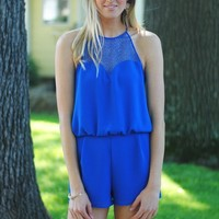 Eyelets in the Sun Romper in Royal