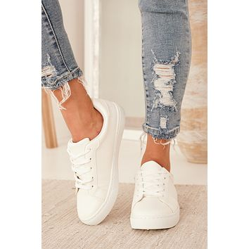 Gone For The Day Casual Lace Up Sneakers (White)