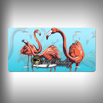 Pink Flamingos Custom License Plate / Vanity Plate with Custom Text and Graphics Aluminum