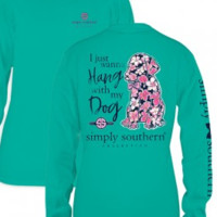 """Simply Southern """"Hang With My Dog"""" Tee - Seafoam Green"""