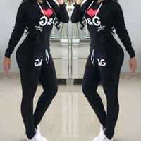 D&G Classic Fashionable Women Casual Print Top Pants Trousers Set Two-Piece Sportswear Black