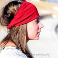 Knit Headband - Red Headbands for Women, Wide Stretch | SpecificallyRandom - Accessories on ArtFire