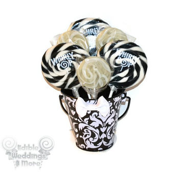 Small Black and White Damask Lollipop Centerpiece, Sweet Sixteen Centerpiece, Bridal Shower Centerpiece, Damask , Wedding Table Decor