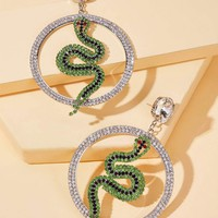Rhinestone Engraved Serpentine Decor Hoop Drop Earrings 1pair