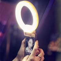 ISF Charm Eyes Smartphone LED Ring Selfie Light Night Darkness Selfie Enhancing Photography for iPhone 5 6s Plus Samsung