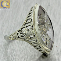 1930s Antique Art Deco 10k Solid White Gold Chunky Marquise Clear Stone Ring